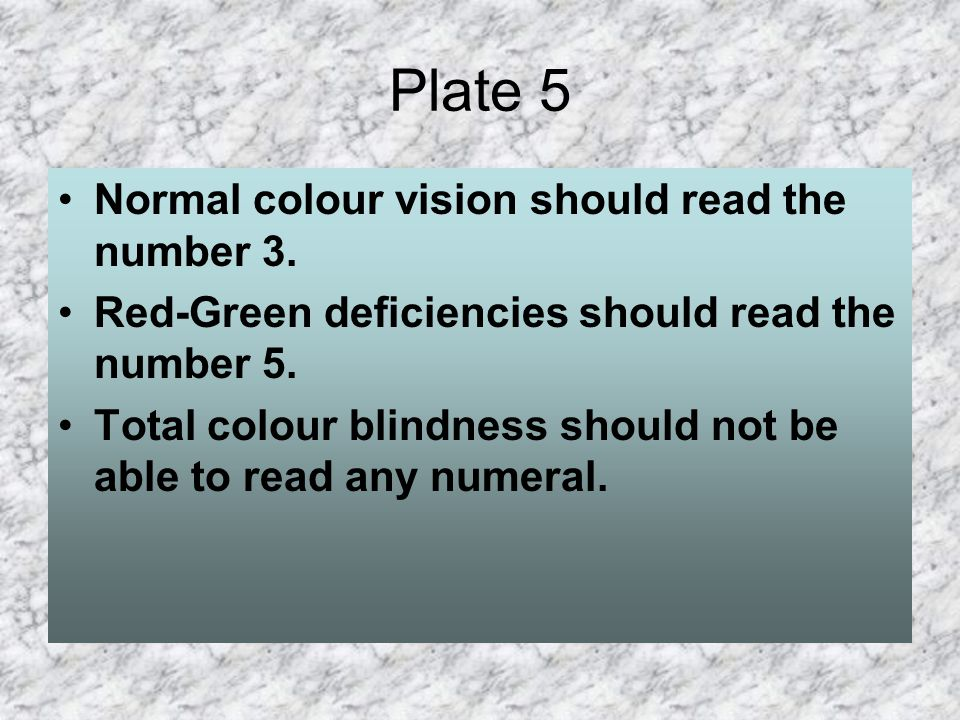 Plate 5 Normal colour vision should read the number 3.