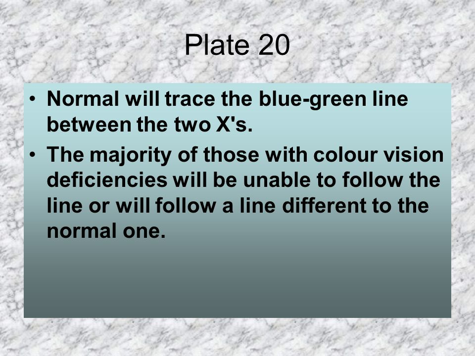 Plate 20 Normal will trace the blue-green line between the two X s.