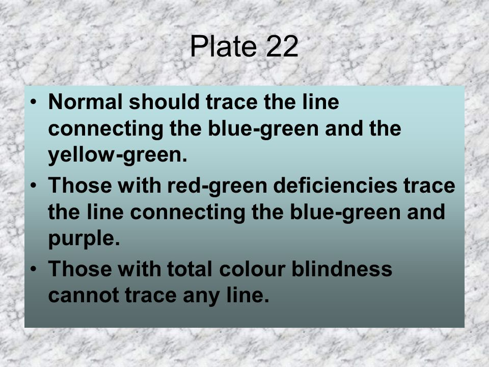 Plate 22 Normal should trace the line connecting the blue-green and the yellow-green.