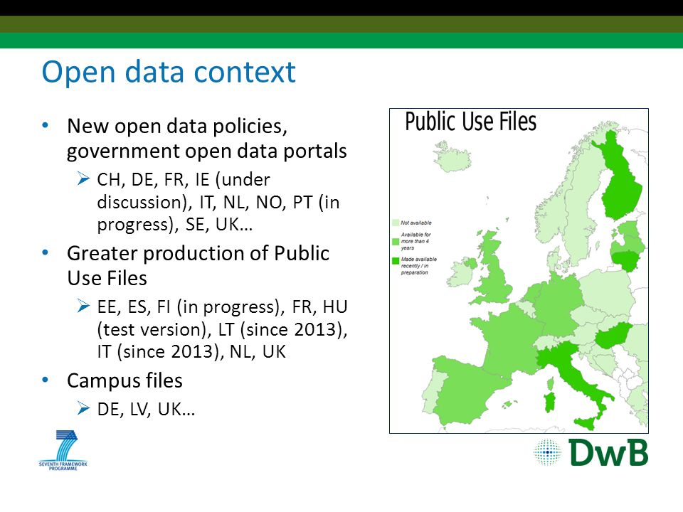 Open data context New open data policies, government open data portals  CH, DE, FR, IE (under discussion), IT, NL, NO, PT (in progress), SE, UK… Greater production of Public Use Files  EE, ES, FI (in progress), FR, HU (test version), LT (since 2013), IT (since 2013), NL, UK Campus files  DE, LV, UK…