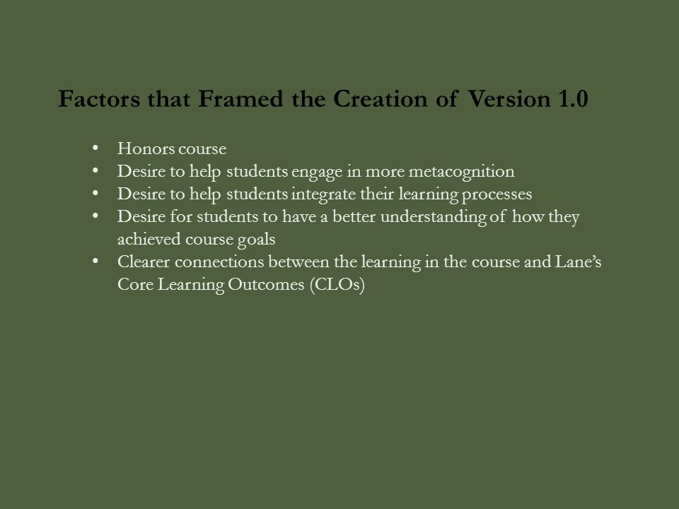 Factors that Framed the Creation of Version 1.0 Honors course Desire to help students engage in more metacognition Desire to help students integrate their learning processes Desire for students to have a better understanding of how they achieved course goals Clearer connections between the learning in the course and Lane's Core Learning Outcomes (CLOs)