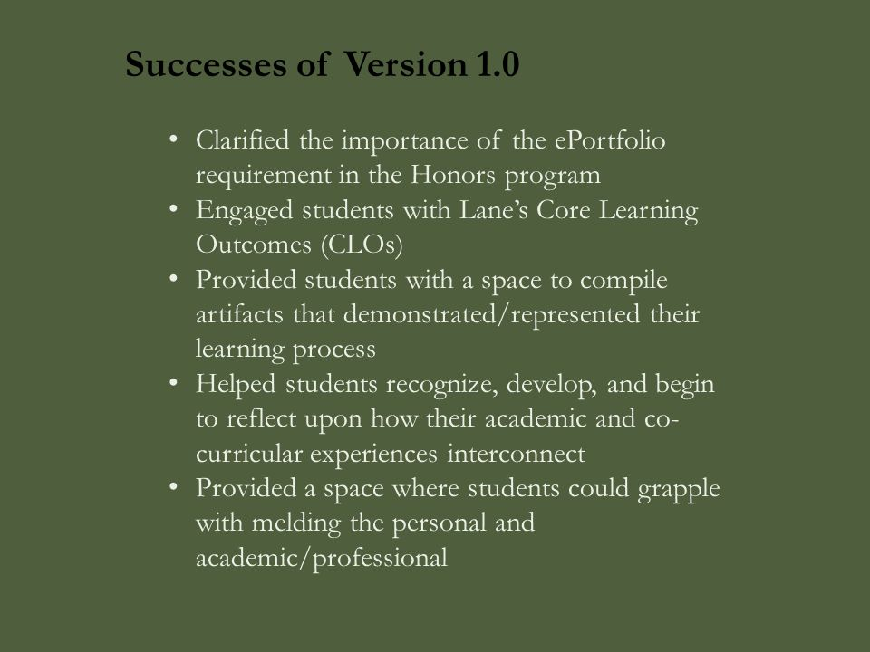 Successes of Version 1.0 Clarified the importance of the ePortfolio requirement in the Honors program Engaged students with Lane's Core Learning Outco