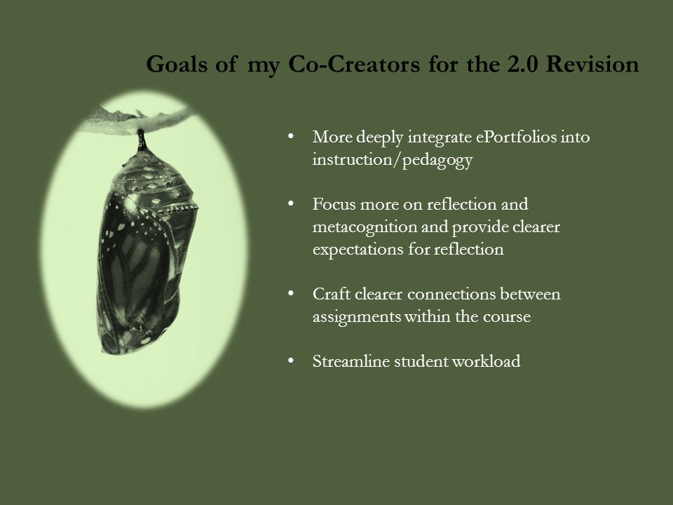 Goals of my Co-Creators for the 2.0 Revision More deeply integrate ePortfolios into instruction/pedagogy Focus more on reflection and metacognition an