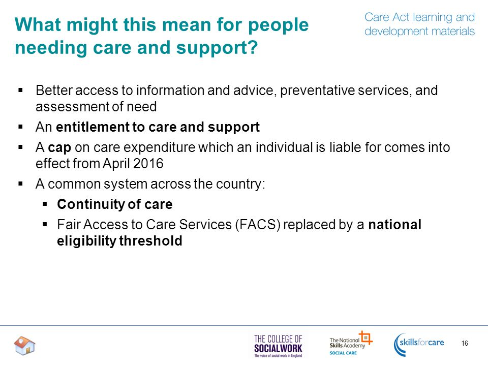 What might this mean for people needing care and support.