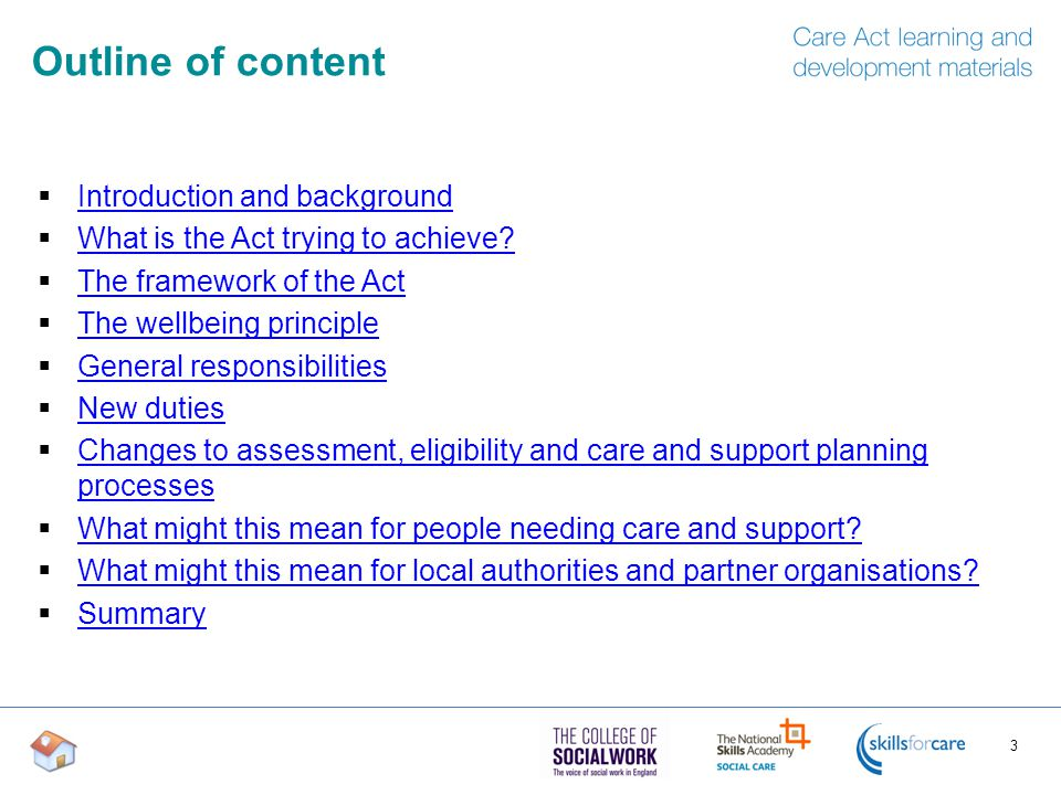 Outline of content  Introduction and background Introduction and background  What is the Act trying to achieve.