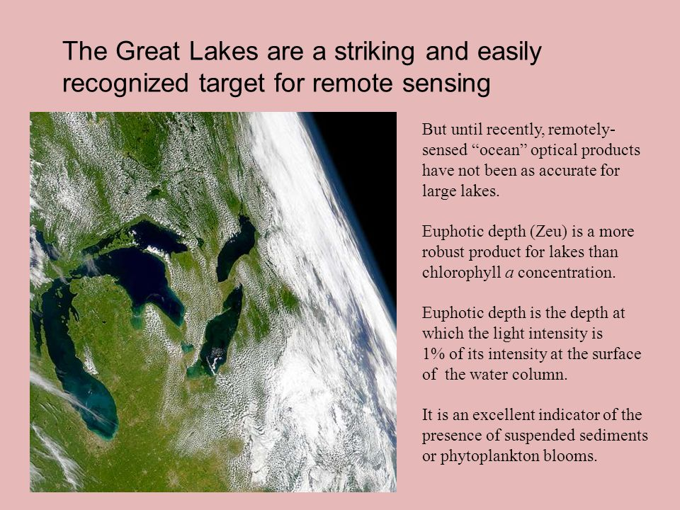 The Great Lakes are a striking and easily recognized target for remote sensing But until recently, remotely- sensed ocean optical products have not been as accurate for large lakes.