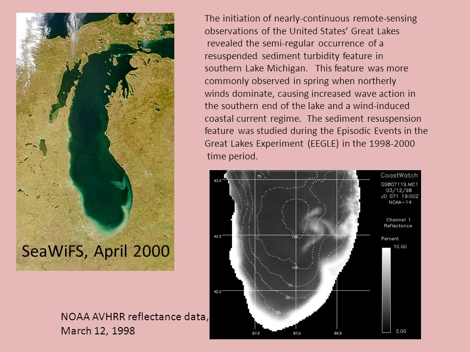 The initiation of nearly-continuous remote-sensing observations of the United States' Great Lakes revealed the semi-regular occurrence of a resuspended sediment turbidity feature in southern Lake Michigan.