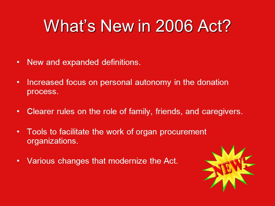 What's New in 2006 Act. New and expanded definitions.