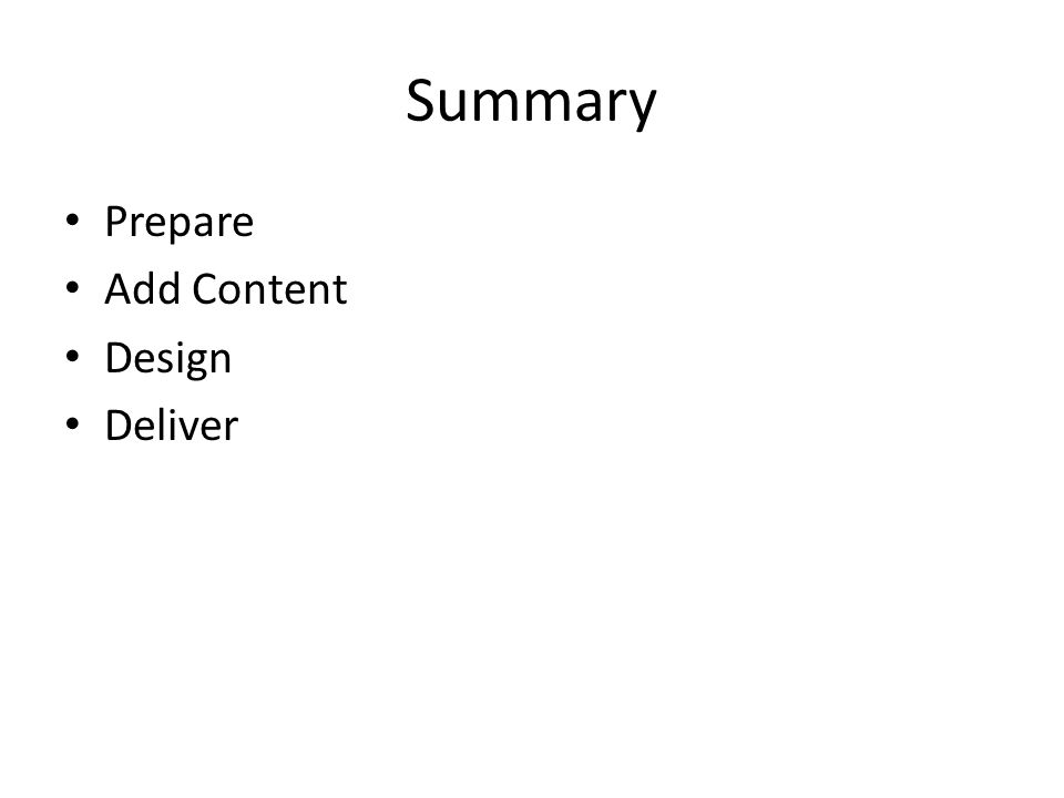 Summary Prepare Add Content Design Deliver