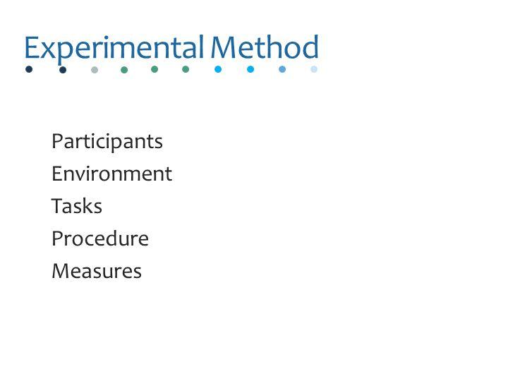 Experimental Method Participants Environment Tasks Procedure Measures