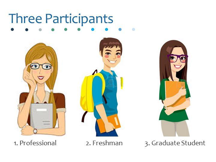 Three Participants 2. Freshman3. Graduate Student1. Professional