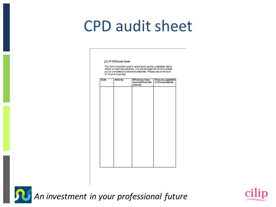 CPD audit sheet