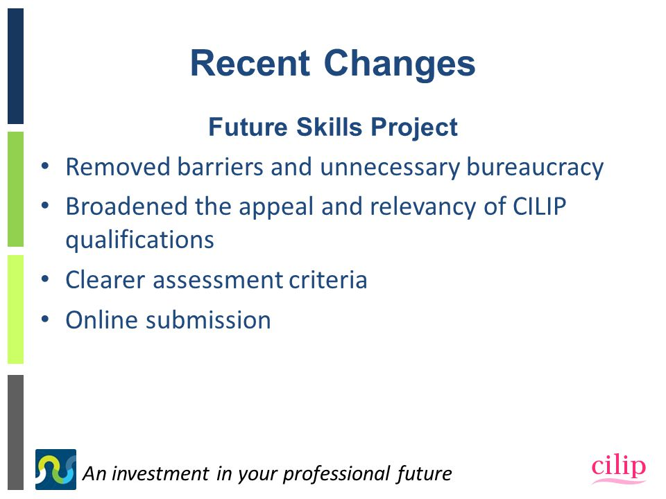 An investment in your professional future Recent Changes Future Skills Project Removed barriers and unnecessary bureaucracy Broadened the appeal and relevancy of CILIP qualifications Clearer assessment criteria Online submission