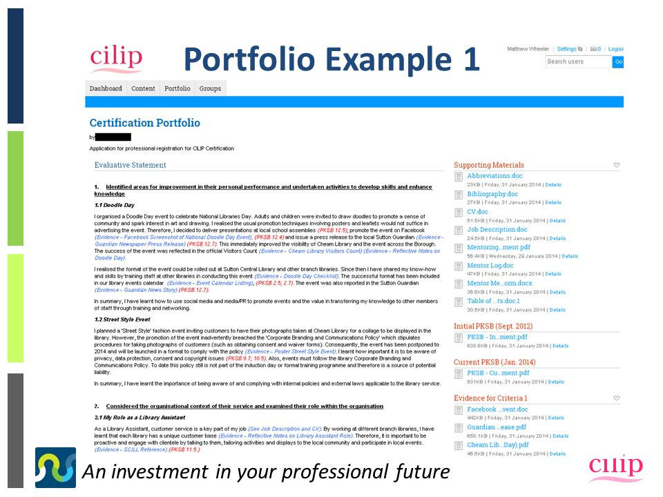 An investment in your professional future Portfolio Example 1
