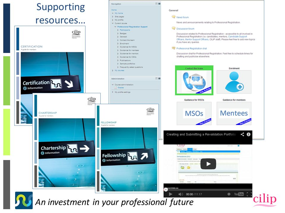 An investment in your professional future Supporting resources…