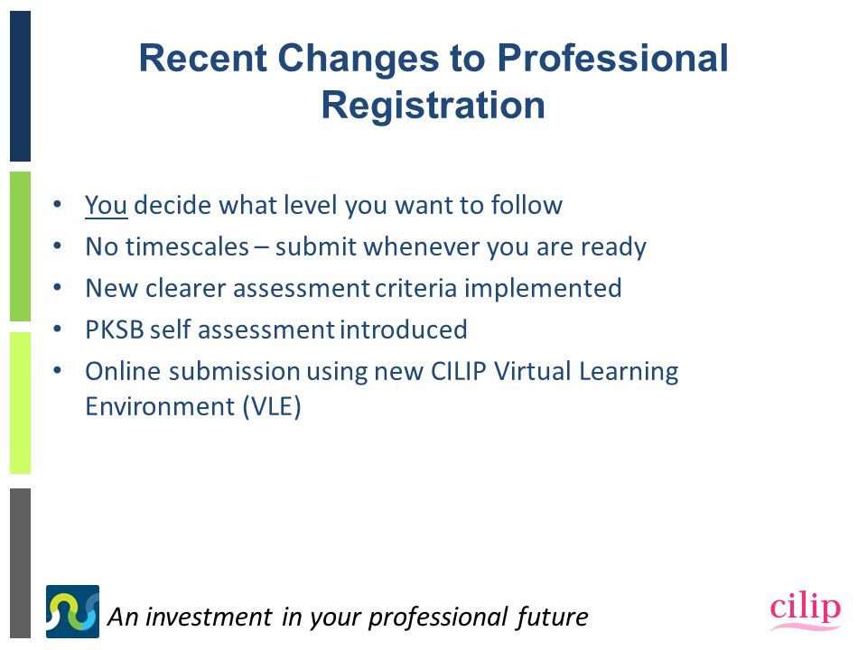 An investment in your professional future Recent Changes to Professional Registration You decide what level you want to follow No timescales – submit whenever you are ready New clearer assessment criteria implemented PKSB self assessment introduced Online submission using new CILIP Virtual Learning Environment (VLE)