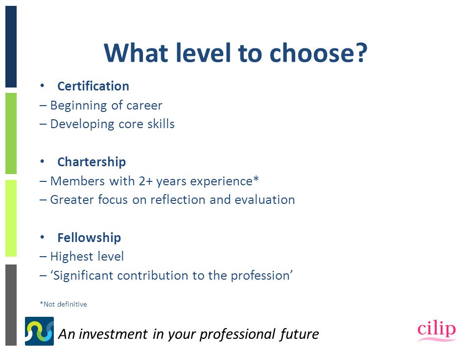 An investment in your professional future What level to choose.