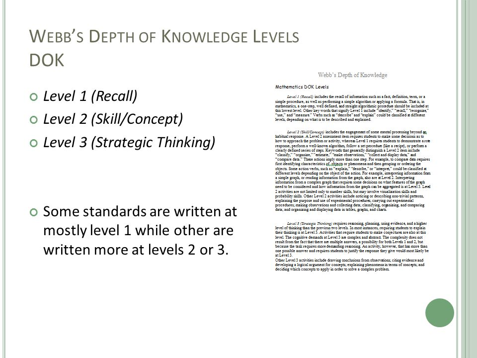 W EBB ' S D EPTH OF K NOWLEDGE L EVELS DOK Level 1 (Recall) Level 2 (Skill/Concept) Level 3 (Strategic Thinking) Some standards are written at mostly level 1 while other are written more at levels 2 or 3.