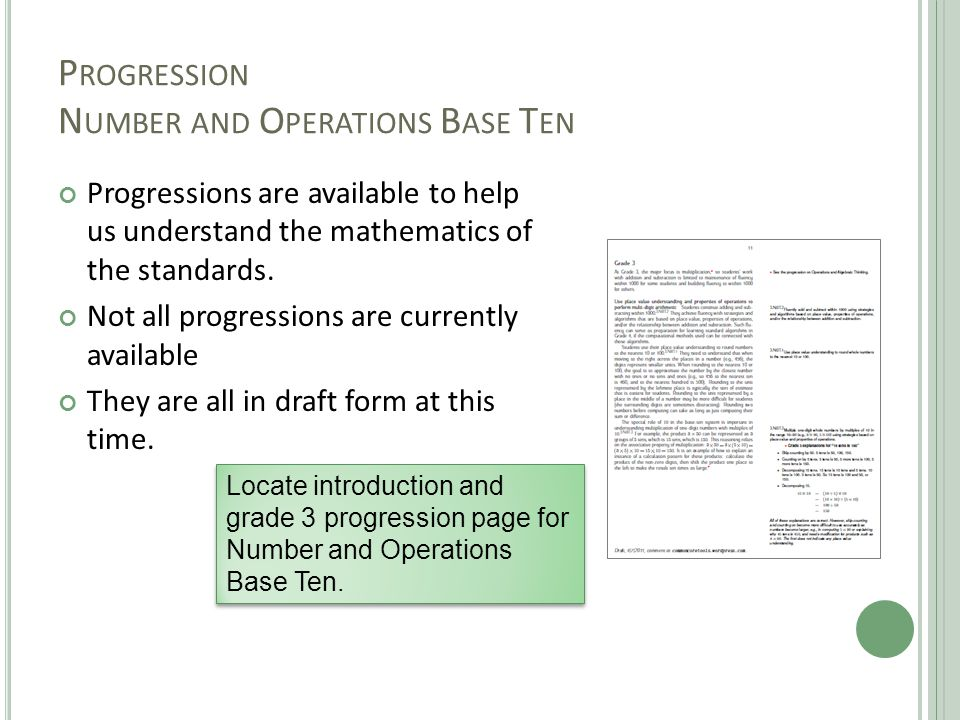 P ROGRESSION N UMBER AND O PERATIONS B ASE T EN Progressions are available to help us understand the mathematics of the standards.