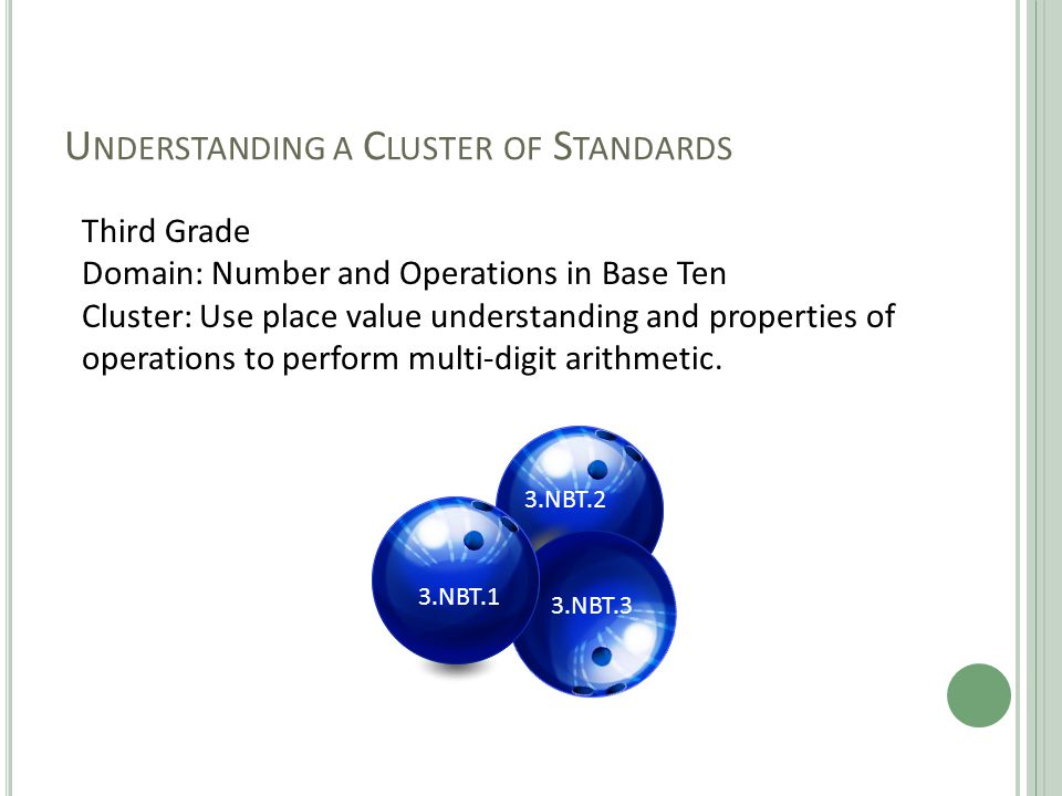 U NDERSTANDING A C LUSTER OF S TANDARDS Third Grade Domain: Number and Operations in Base Ten Cluster: Use place value understanding and properties of operations to perform multi-digit arithmetic.