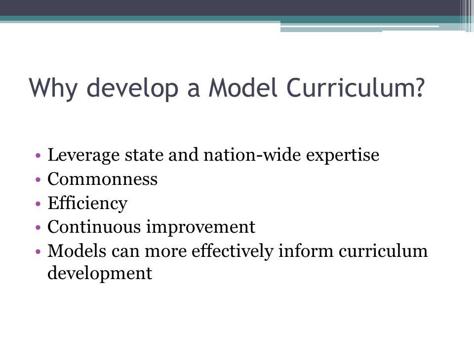 Why develop a Model Curriculum.