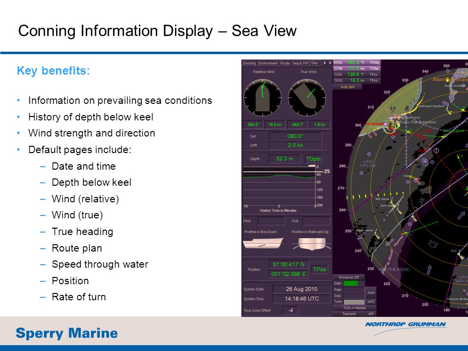 Conning Information Display – Sea View Key benefits: Information on prevailing sea conditions History of depth below keel Wind strength and direction