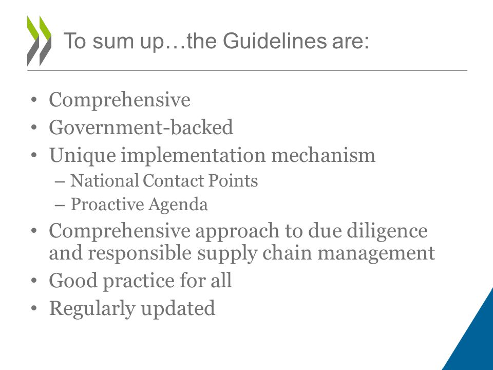 Comprehensive Government-backed Unique implementation mechanism – National Contact Points – Proactive Agenda Comprehensive approach to due diligence and responsible supply chain management Good practice for all Regularly updated To sum up…the Guidelines are: