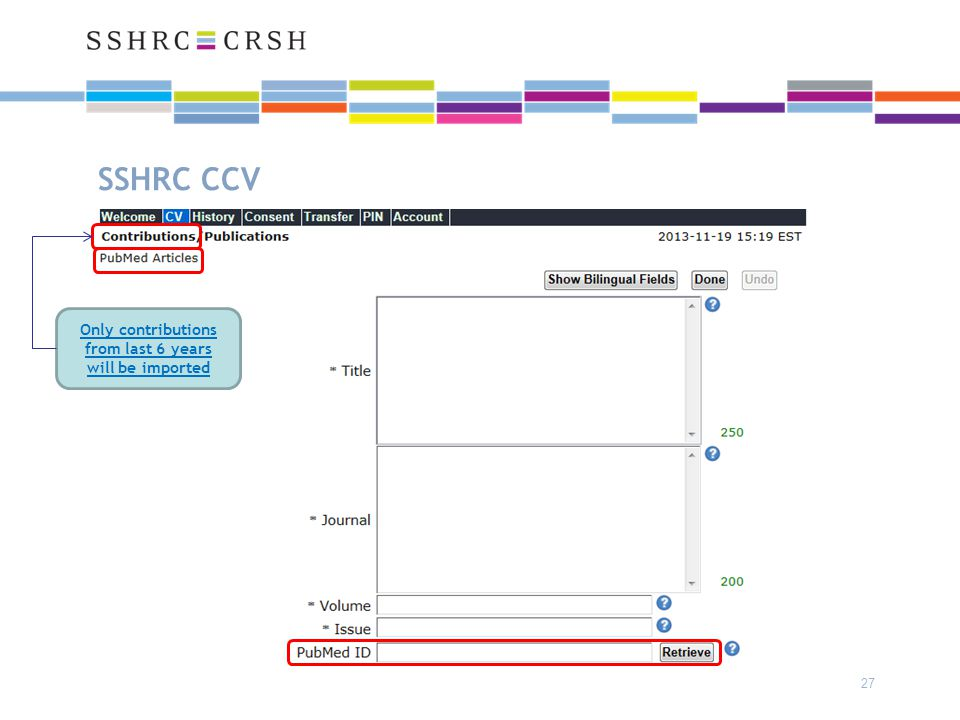 SSHRC CCV 27 Only contributions from last 6 years will be imported