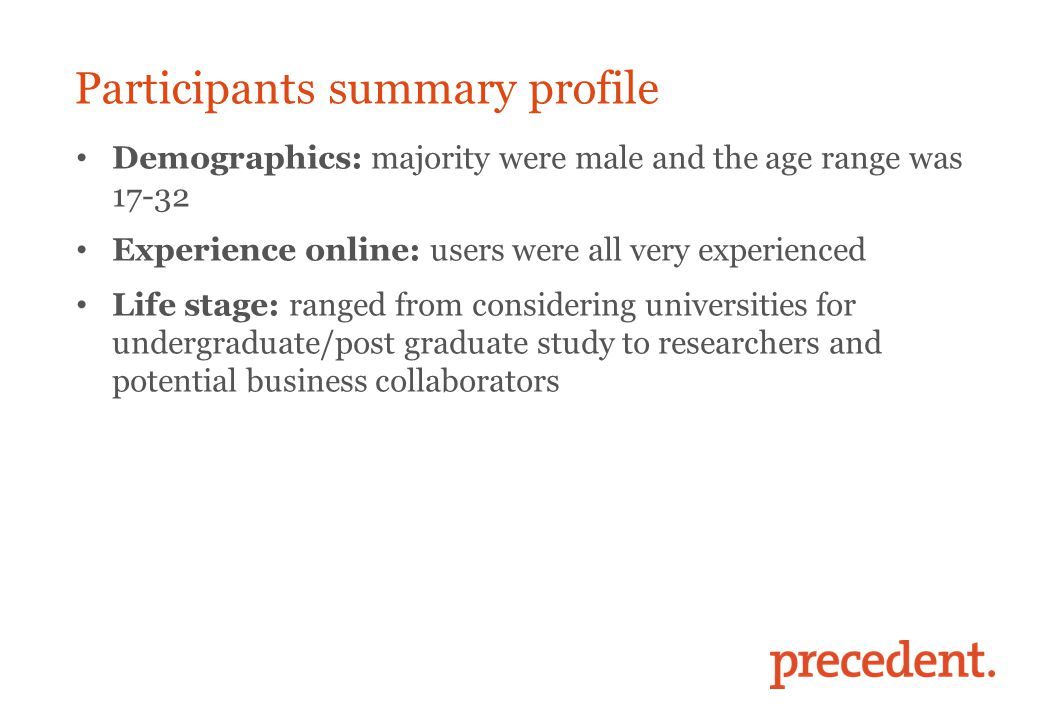Participants summary profile Demographics: majority were male and the age range was 17-32 Experience online: users were all very experienced Life stag