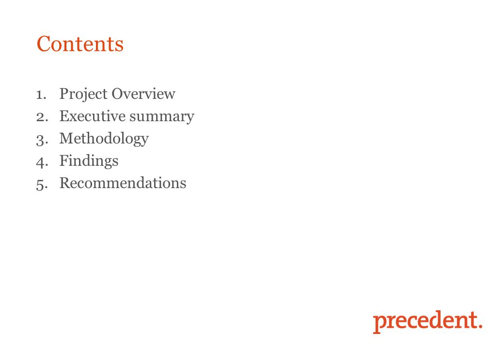 Contents 1.Project Overview 2.Executive summary 3.Methodology 4.Findings 5.Recommendations