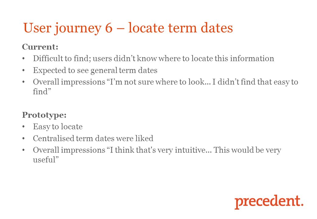 User journey 6 – locate term dates Current: Difficult to find; users didn't know where to locate this information Expected to see general term dates Overall impressions I'm not sure where to look...