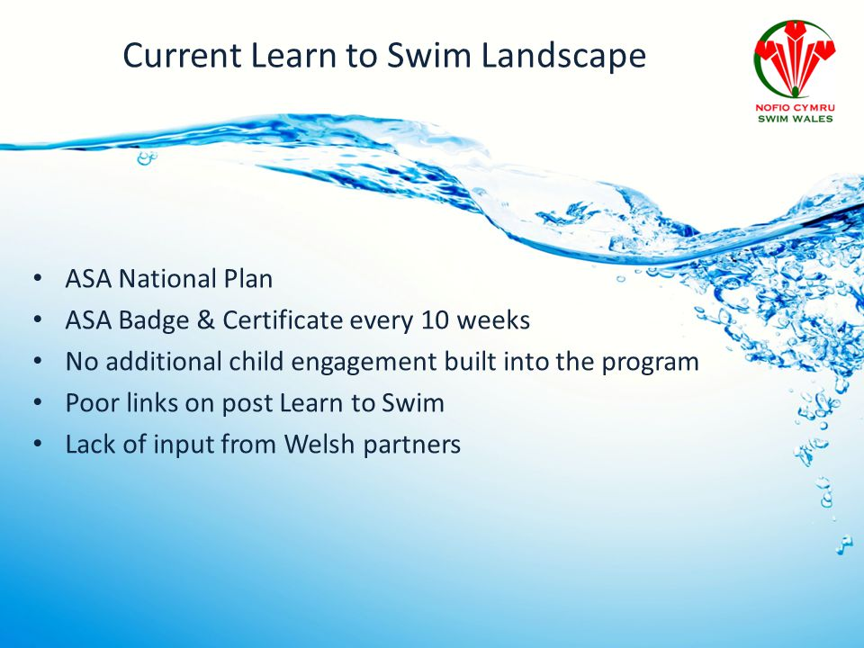 Current Learn to Swim Landscape ASA National Plan ASA Badge & Certificate every 10 weeks No additional child engagement built into the program Poor links on post Learn to Swim Lack of input from Welsh partners