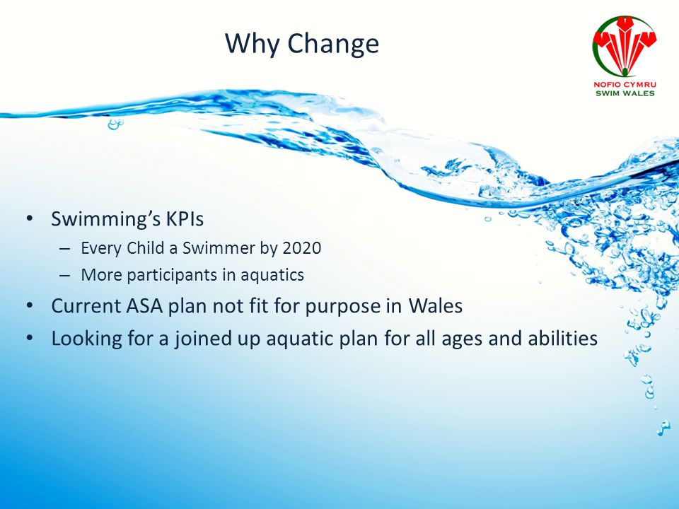 Why Change Swimming's KPIs – Every Child a Swimmer by 2020 – More participants in aquatics Current ASA plan not fit for purpose in Wales Looking for a joined up aquatic plan for all ages and abilities