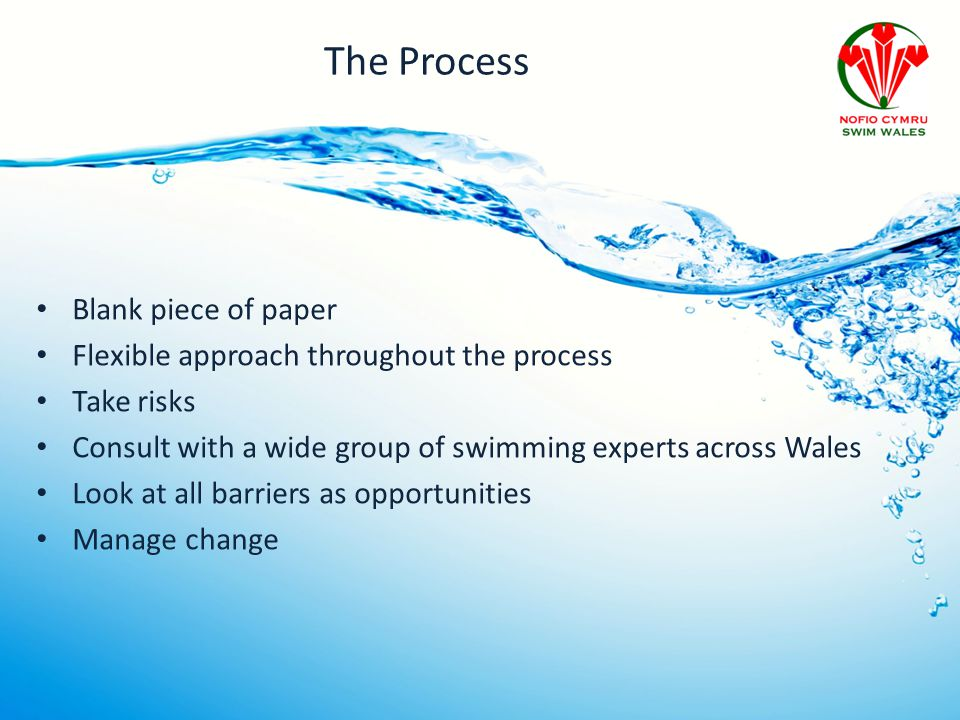 The Process Blank piece of paper Flexible approach throughout the process Take risks Consult with a wide group of swimming experts across Wales Look a