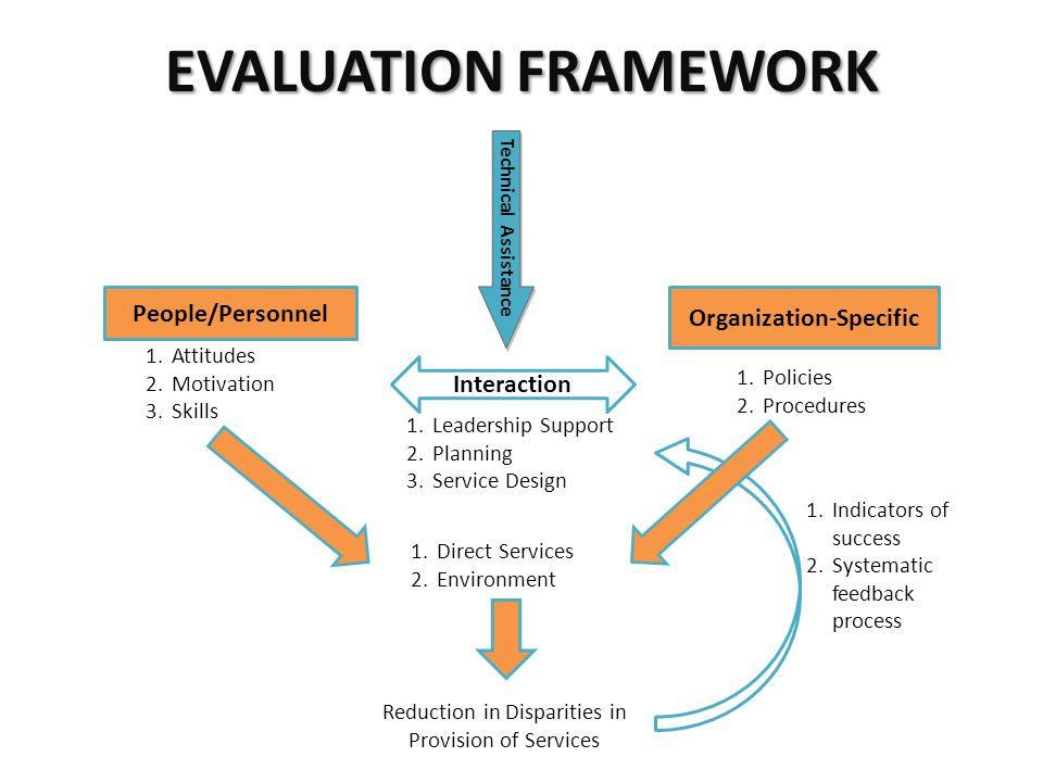 People/Personnel Organization-Specific Interaction 1.Attitudes 2.Motivation 3.Skills 1.Policies 2.Procedures 1.Leadership Support 2.Planning 3.Service Design 1.Direct Services 2.Environment Reduction in Disparities in Provision of Services Technical Assistance 1.Indicators of success 2.Systematic feedback process EVALUATION FRAMEWORK