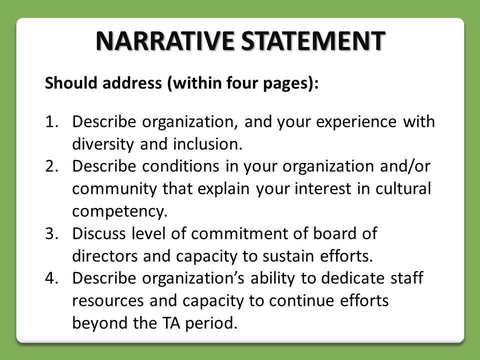 Should address (within four pages): 1.Describe organization, and your experience with diversity and inclusion.