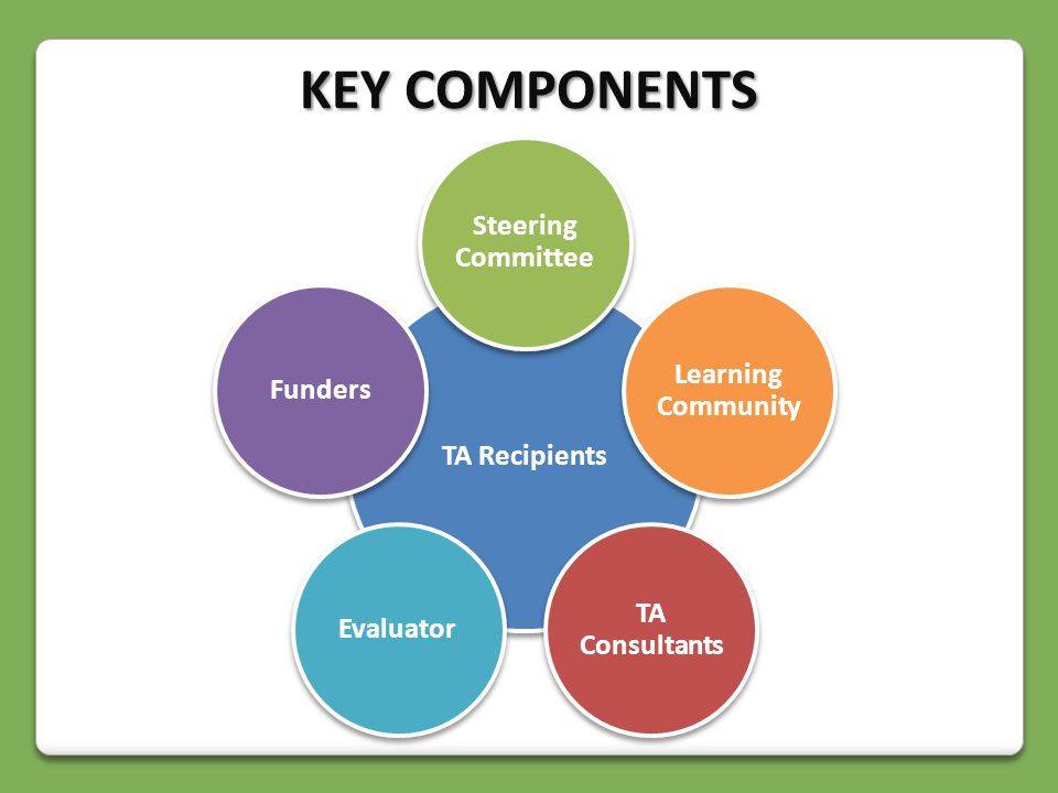 TA Recipients Steering Committee Learning Community TA Consultants EvaluatorFunders KEY COMPONENTS