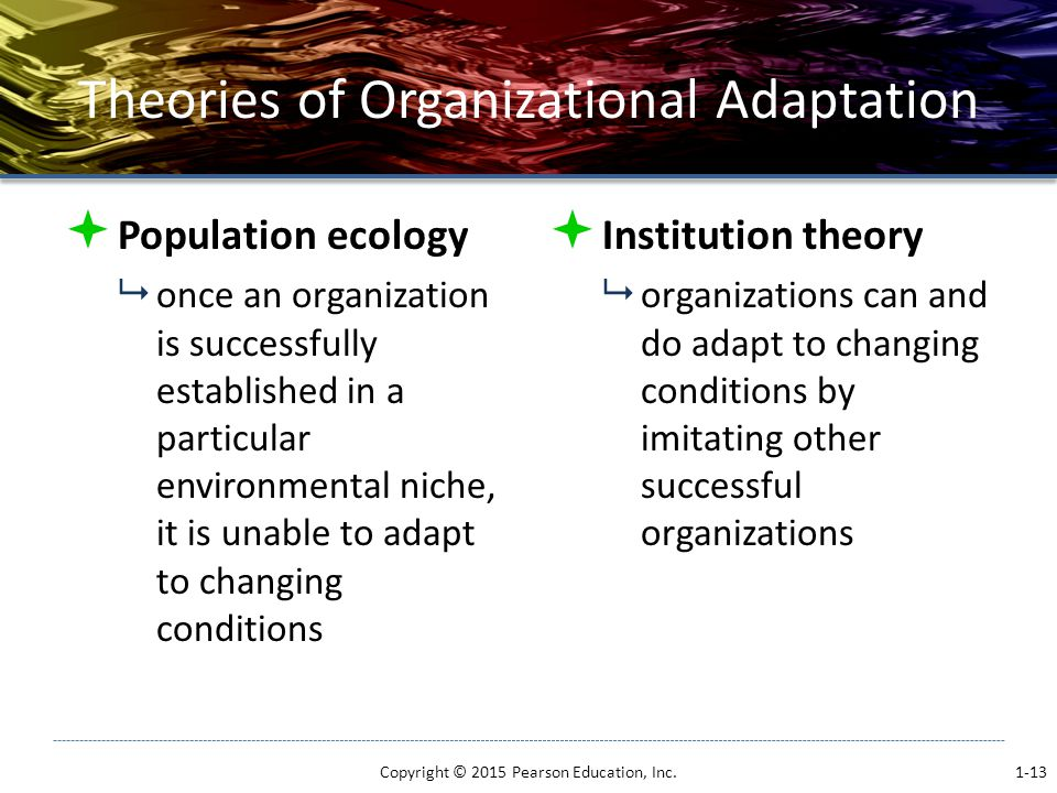 Theories of Organizational Adaptation  Population ecology  once an organization is successfully established in a particular environmental niche, it is unable to adapt to changing conditions  Institution theory  organizations can and do adapt to changing conditions by imitating other successful organizations Copyright © 2015 Pearson Education, Inc.