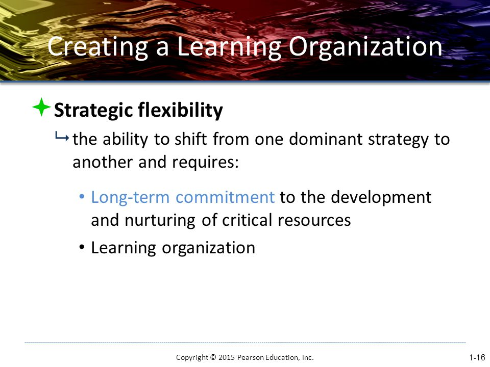 Creating a Learning Organization  Strategic flexibility  the ability to shift from one dominant strategy to another and requires: Long-term commitment to the development and nurturing of critical resources Learning organization Copyright © 2015 Pearson Education, Inc.