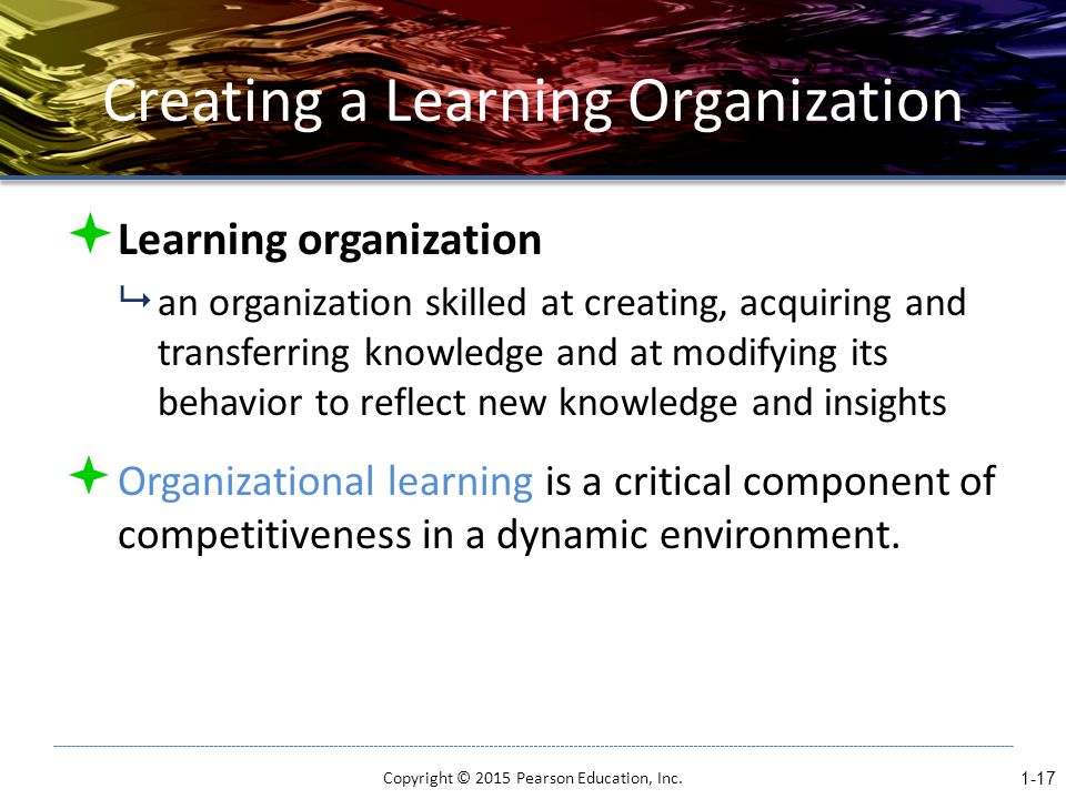 Creating a Learning Organization  Learning organization  an organization skilled at creating, acquiring and transferring knowledge and at modifying its behavior to reflect new knowledge and insights  Organizational learning is a critical component of competitiveness in a dynamic environment.