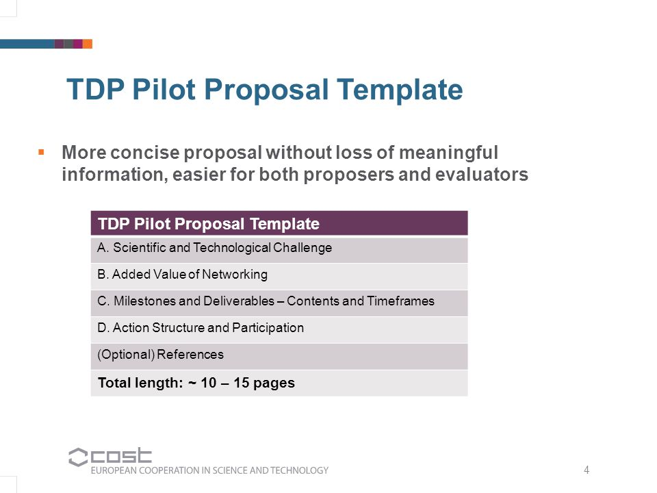 4 TDP Pilot Proposal Template  More concise proposal without loss of meaningful information, easier for both proposers and evaluators TDP Pilot Proposal Template A.