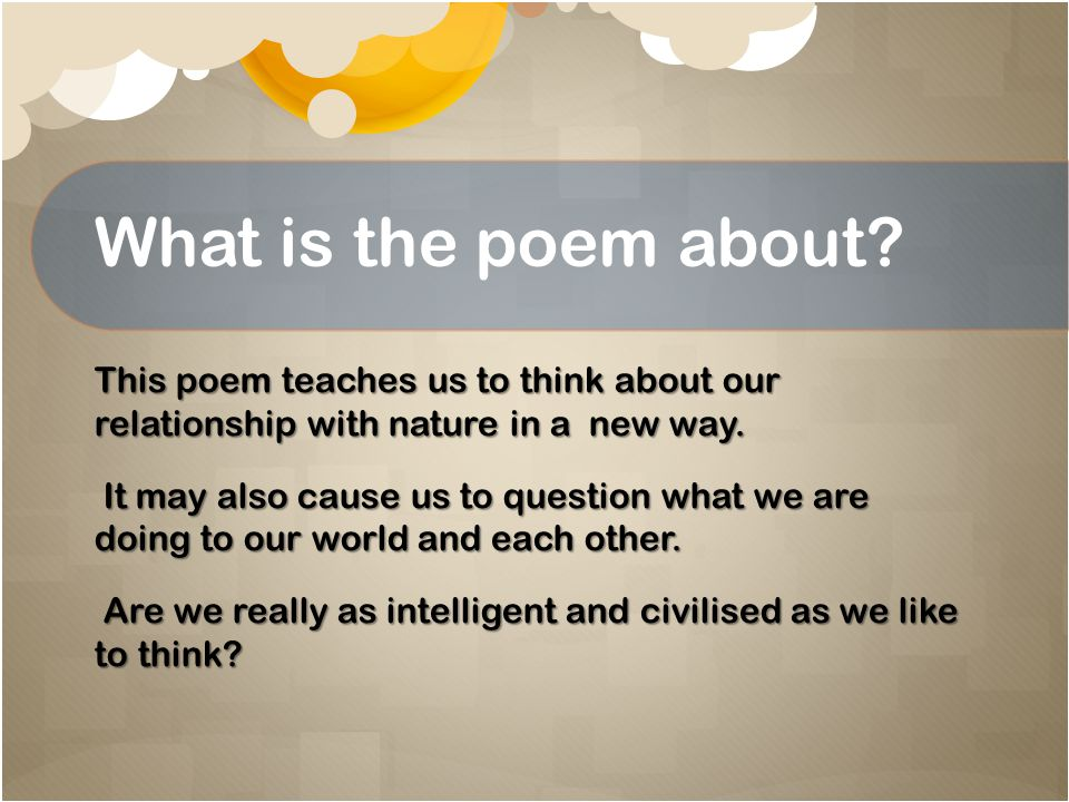 What is the poem about.