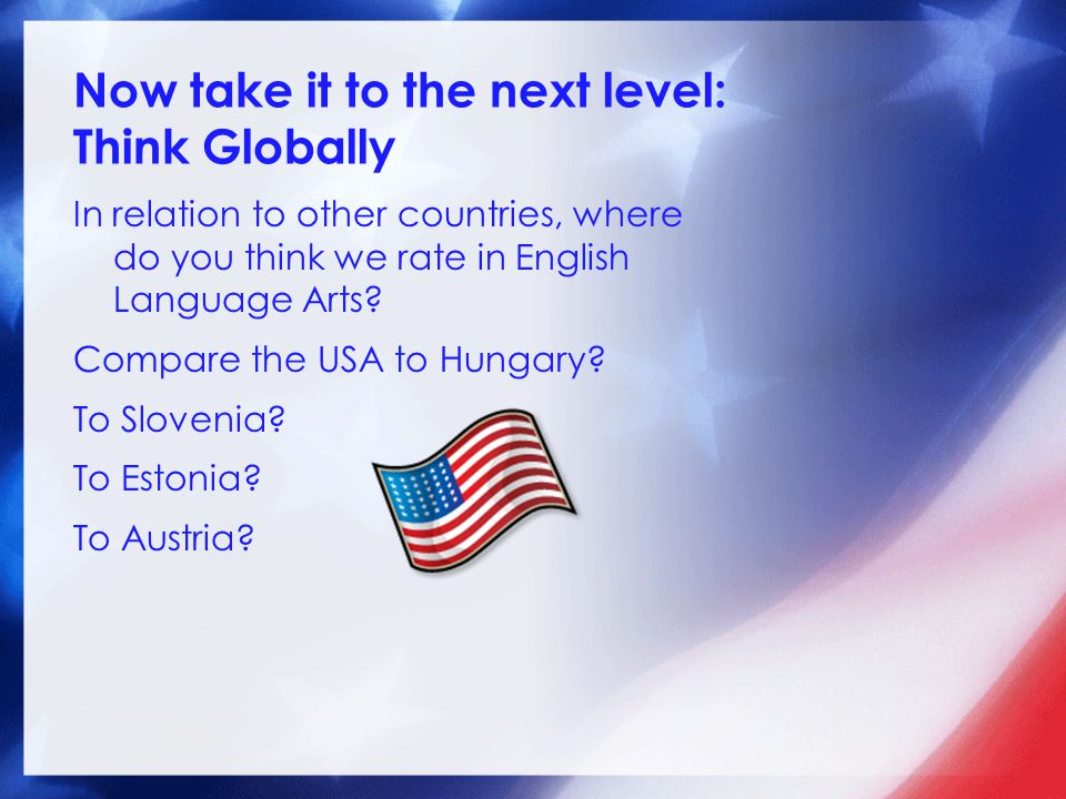 Now take it to the next level: Think Globally In relation to other countries, where do you think we rate in English Language Arts? Compare the USA to