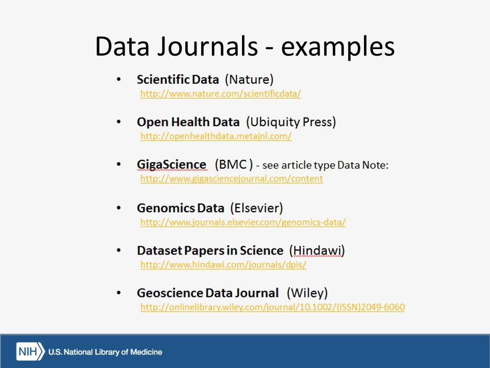 Data Journals - examples