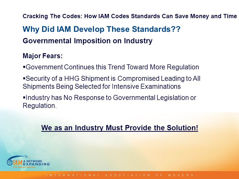 Why Did IAM Develop These Standards .