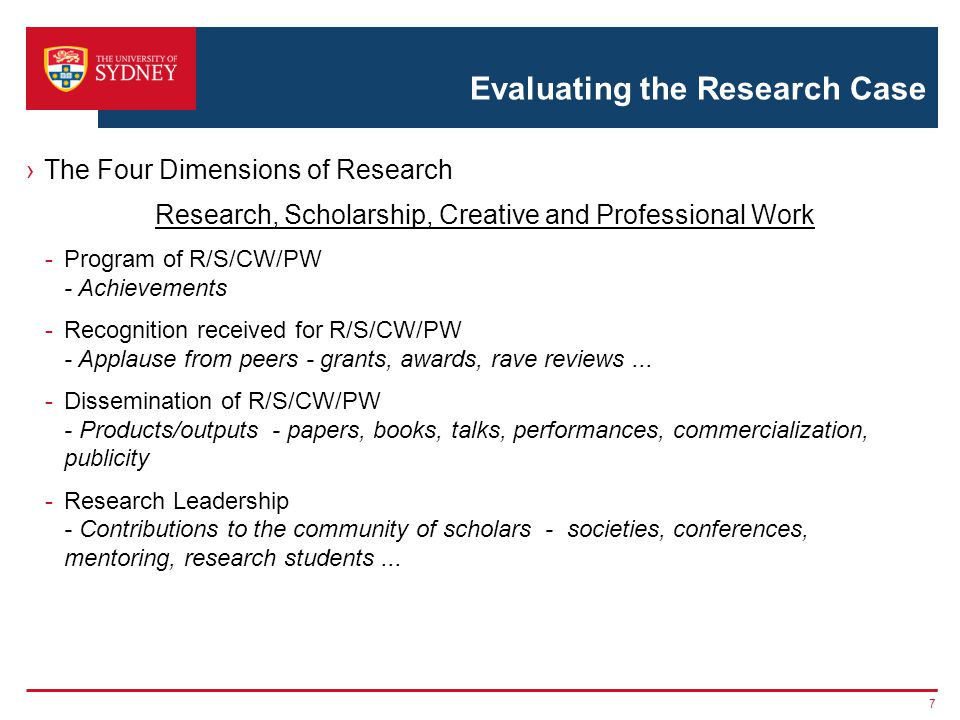 Evaluating the Research Case ›The Four Dimensions of Research Research, Scholarship, Creative and Professional Work -Program of R/S/CW/PW - Achievemen