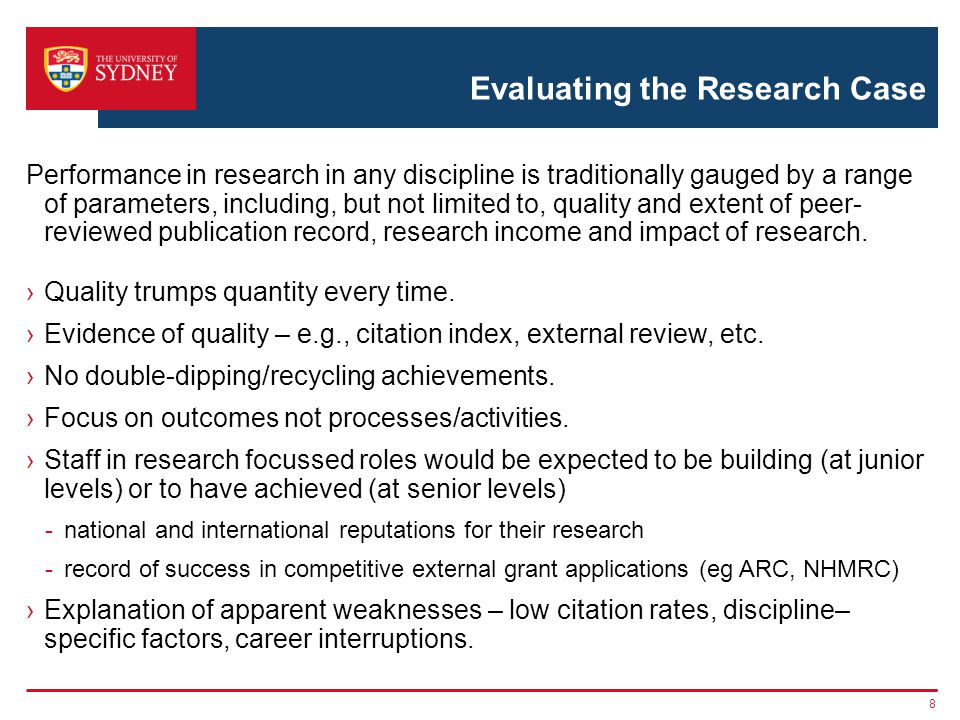 Evaluating the Research Case Performance in research in any discipline is traditionally gauged by a range of parameters, including, but not limited to