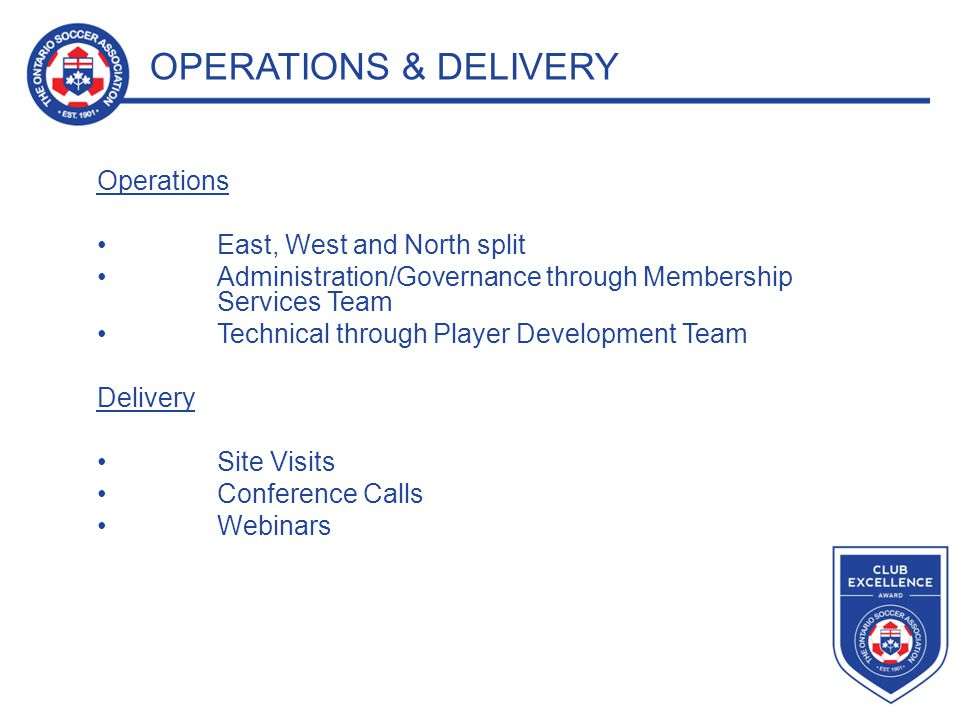 OPERATIONS & DELIVERY Operations East, West and North split Administration/Governance through Membership Services Team Technical through Player Development Team Delivery Site Visits Conference Calls Webinars