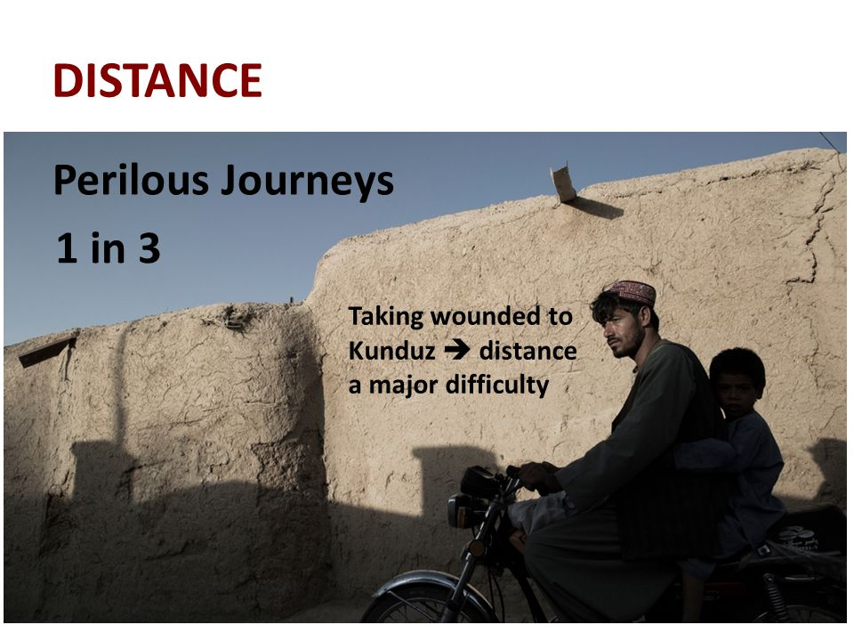 DISTANCE Taking wounded to Kunduz  distance a major difficulty Perilous Journeys 1 in 3