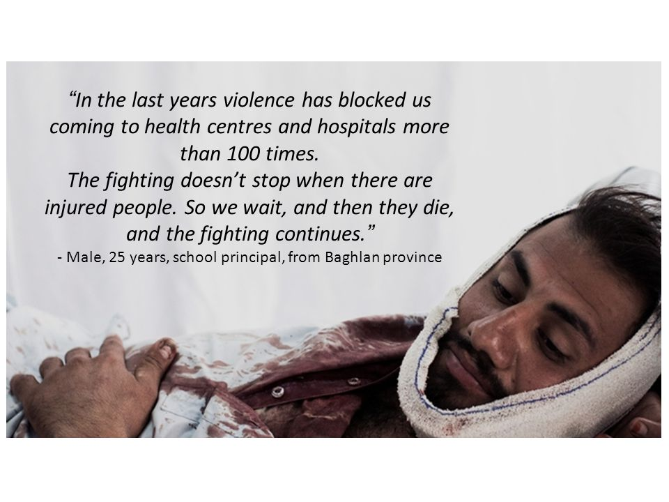 In the last years violence has blocked us coming to health centres and hospitals more than 100 times.